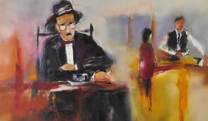 Fernando Pessoa tomando um café