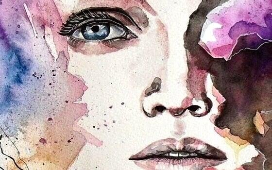 Rosto de mulher em aquarela