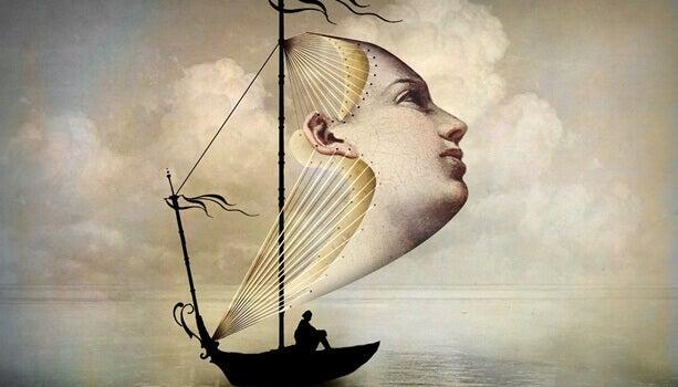 Barco com vela de rosto