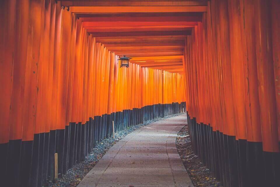 Caminho coberto em tons de laranja