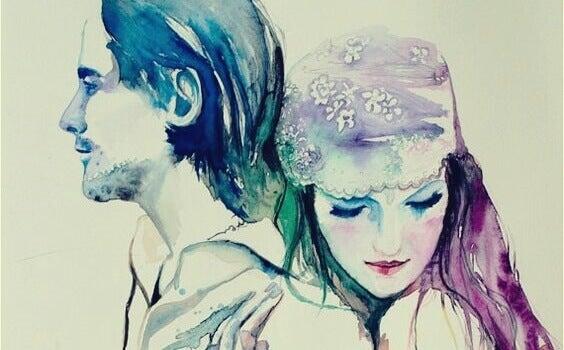 Casal em aquarela