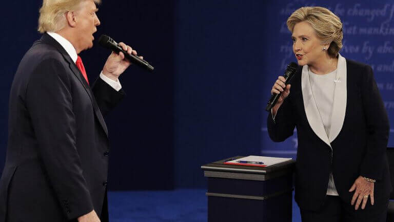 Donald Trump e Clinton em debate