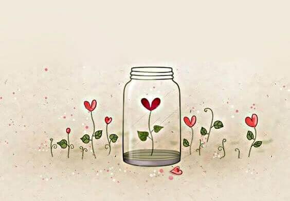 Pote de vidro com flor de coração dentro