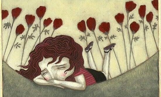 Menina chorando em meio a rosas vermelhas