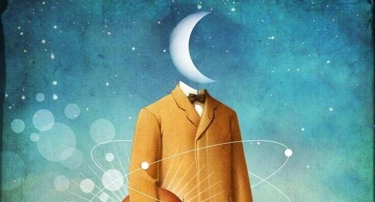 Pessoa com lua na cabeça