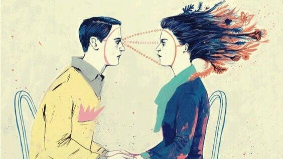 Homem e mulher se olhando fixamente nos olhos