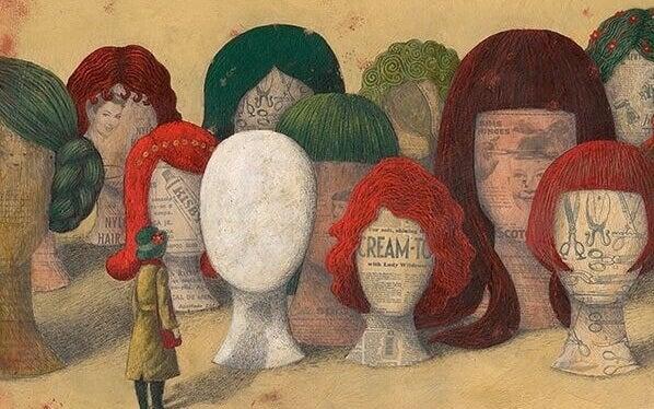 Manequins com perucas