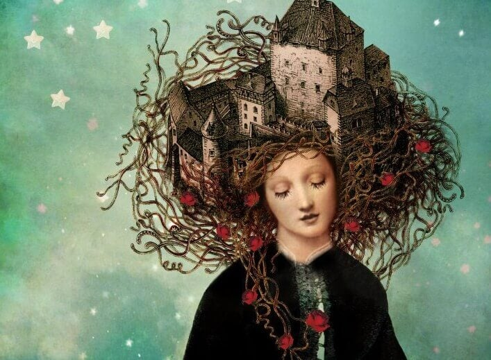 Mulher com castelo nos cabelos
