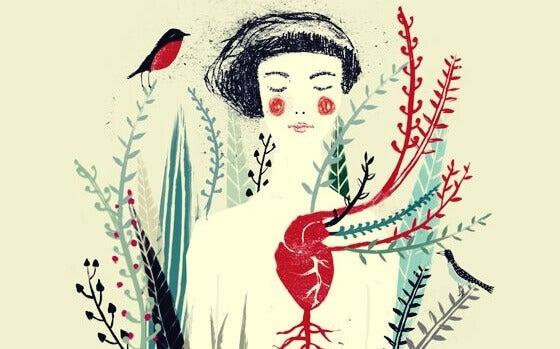 Mulher com bochechas pintadas de vermelho