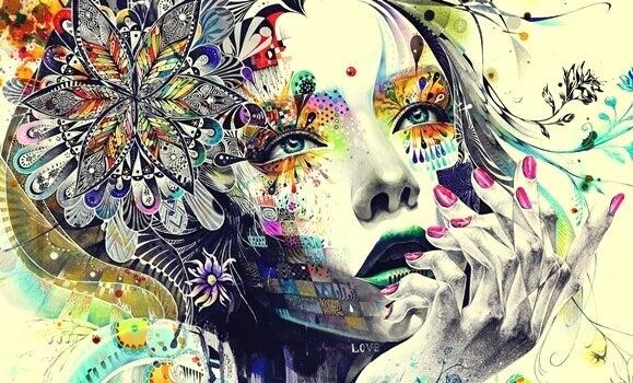Rosto de mulher com várias cores e desenhos