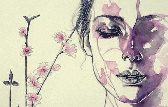 Mulher com flores e folhas