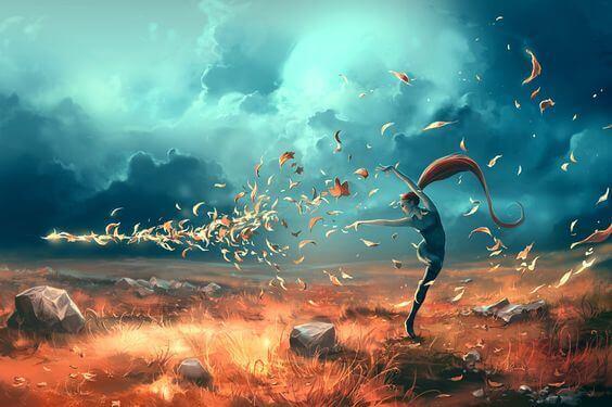 Mulher dançando com folhas de outono