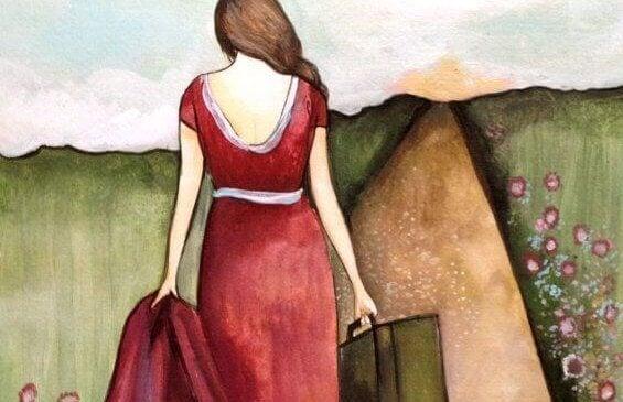 Mulher indo embora de vestido vermelho