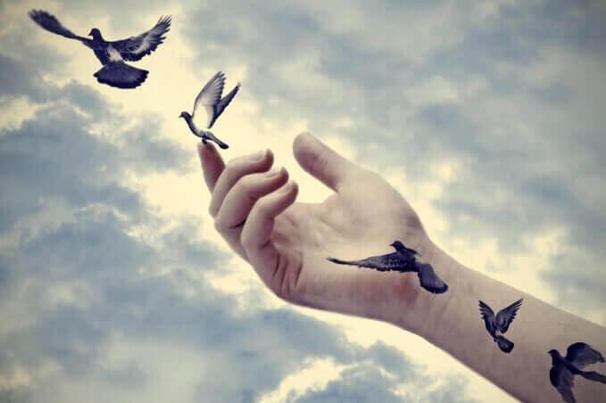 Pássaros voando saindo de braço