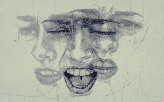 Rosto de mulher expressando emoções