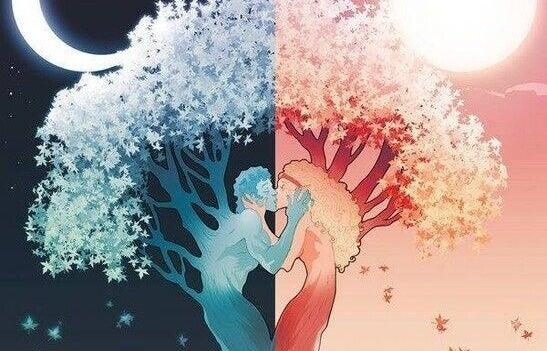 Pessoas-árvores se beijando