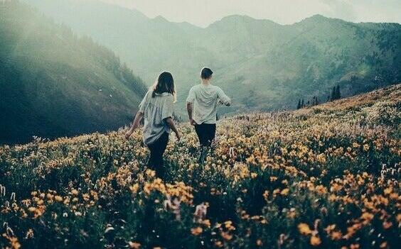 Amigos caminhando em campo de flores