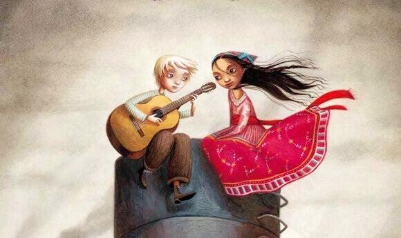 Jovem tocando violão para menina