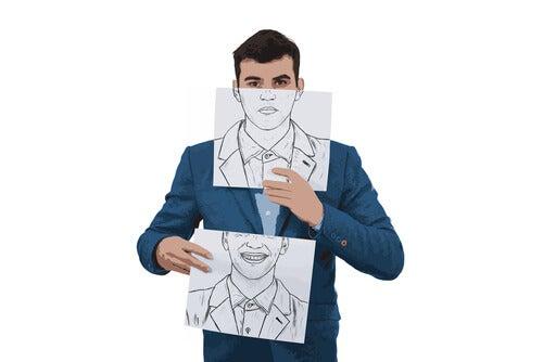 Pessoa escondendo seus defeitos
