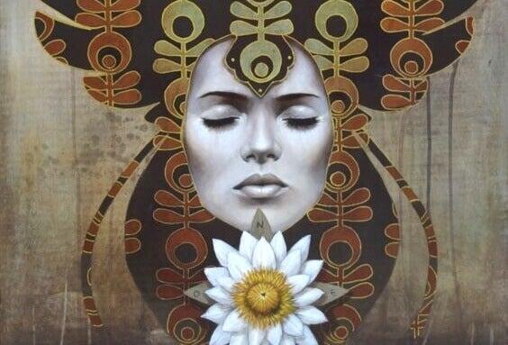 Rosto feminino de olhos fechados