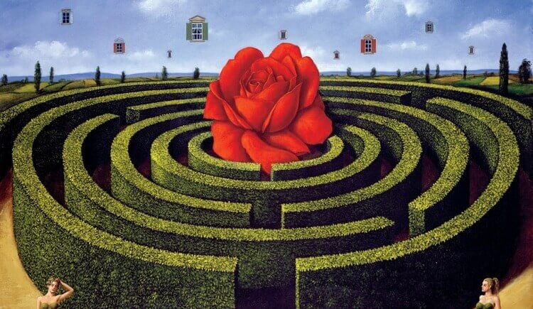 Labirinto com rosa vermelha no meio