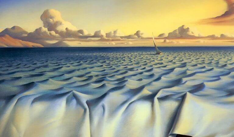 Barco navegando em mar de tecido
