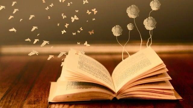 Livro aberto com borboletas voando
