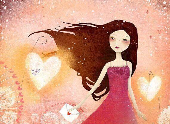 Mulher com corações ao lado