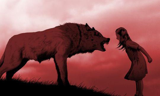 Menina gritando com lobo