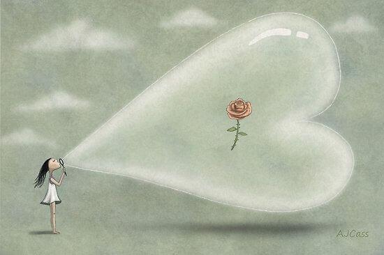 Mulher soprando bolha de sabão com flor no centro