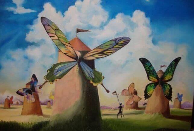 Moinhos com asas de borboleta
