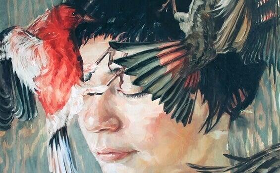 Pintura de pessoa com pássaros ao lado
