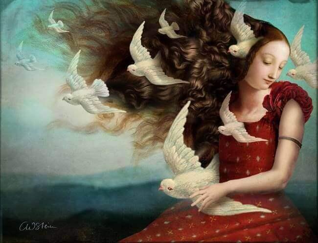 Mulher com pombas brancas