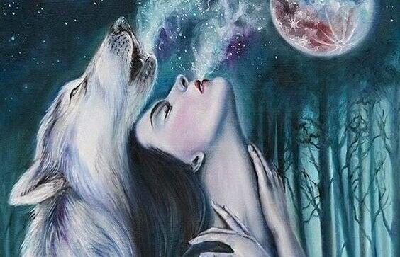 Mulher e loba unidas