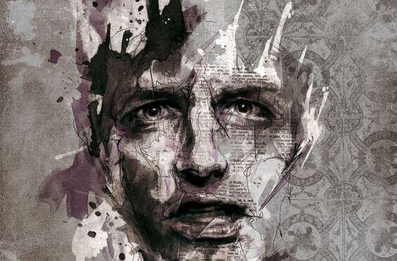 Rosto de homem desenhado