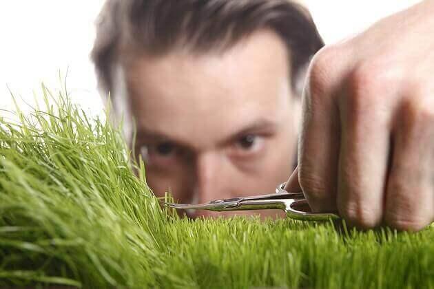 Homem cortando grama milimetricamente