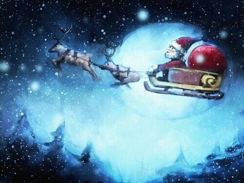Papai Noel voando em seu trenó
