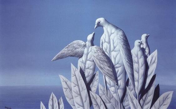 Folhas em forma de aves
