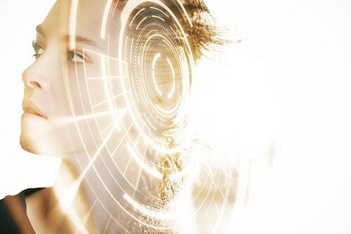 Mulher com luzes tecnológicas