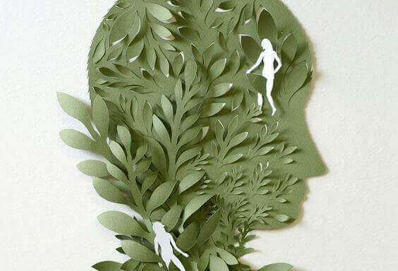 Perfil humano com folhas