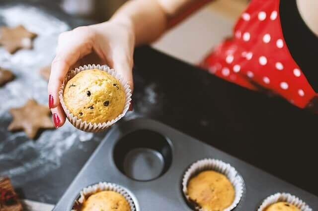 Muffins saindo do forno