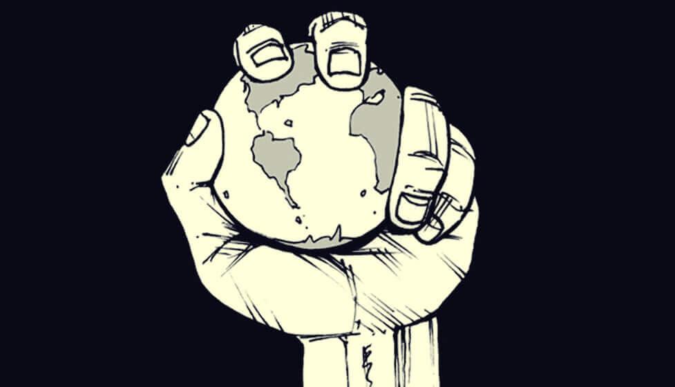 Mão segurando planeta Terra
