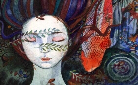 Mulher com folhas no rosto