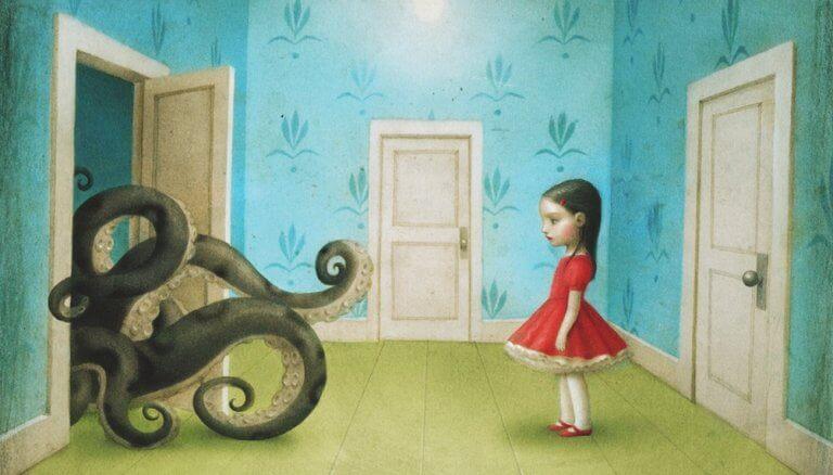 Menina diante de polvo no armário