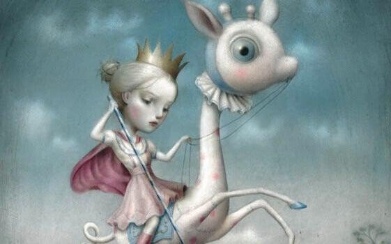 Menina com coroa andando em animal estranho