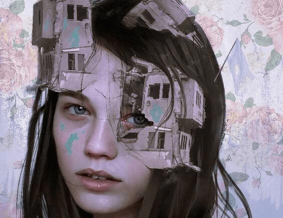 Mulher com estruturas saindo do rosto