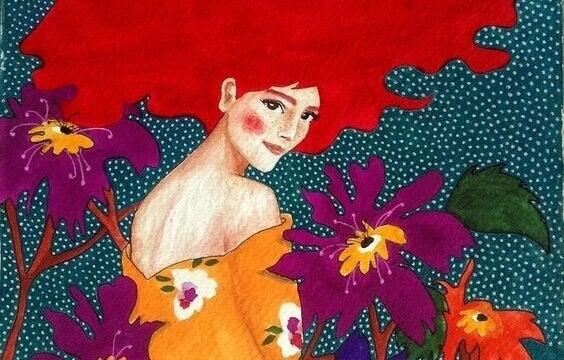 Mulher ruiva com flores coloridas