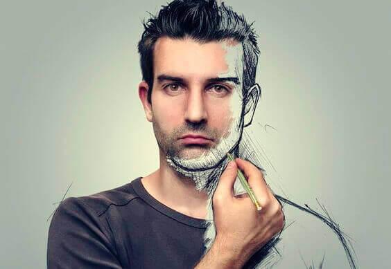Homem desenhando a si mesmo
