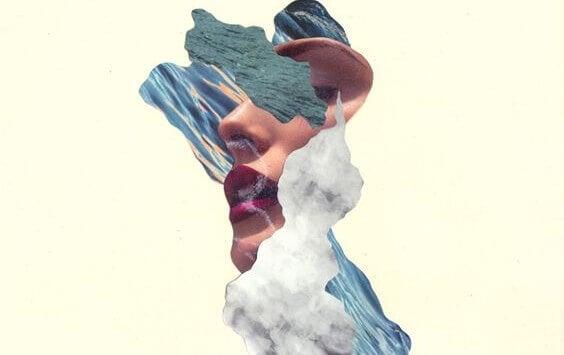Colagem abstrata com rosto feminino