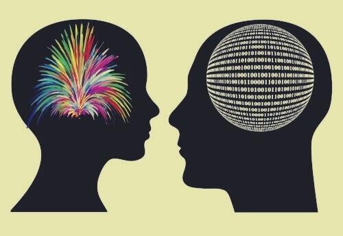 Rostos se olhando com cérebros em evidência